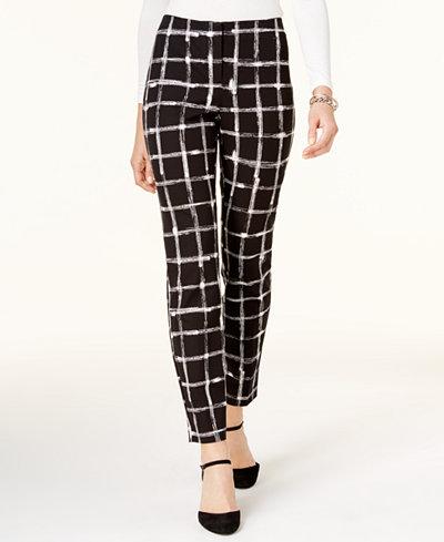 Alfani Petite Printed Skinny Pants, Created for Macy's