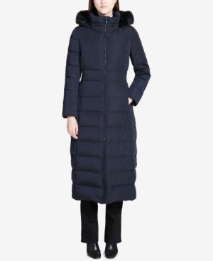 FAUX-FUR-TRIMMED HOODED MAXI PUFFER COAT