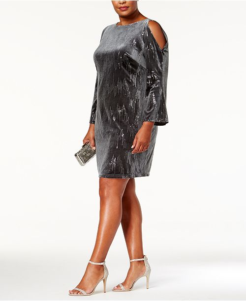 5740b04c0b4f ... Jessica Howard Plus Size Sequined Velvet Cold-Shoulder Dress ...