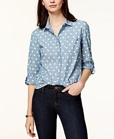 Cotton Printed Roll-Tab Utility Shirt