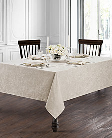 "Waterford Peony Taupe 90"" Round Tablecloth"