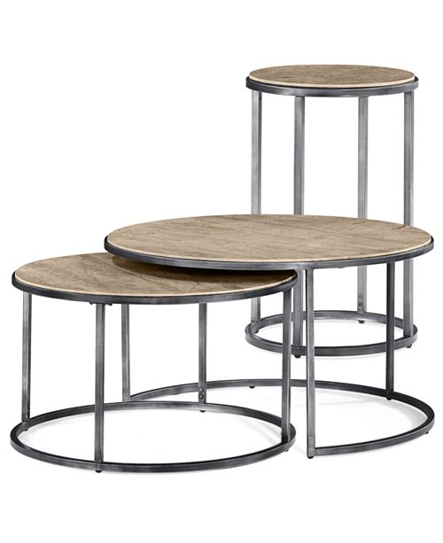 Furniture Monterey Round Tables 2 Piece Set Nesting Coffee Table And End