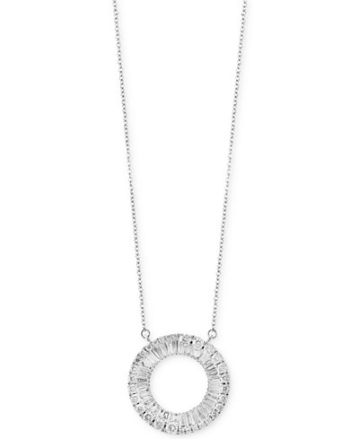 Classique by EFFY® Diamond Circle Pendant Necklace (1-1/10 ct. t.w.) in 14k White Gold