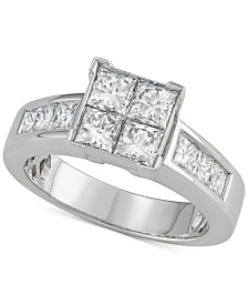 Diamond Square Engagement Ring (2 ct. t.w.) in 14k White Gold