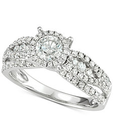 Diamond Halo Engagement Ring (1-1/3 ct. t.w.) in 14k White Gold
