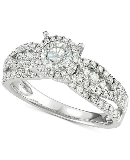 Macy's Diamond Halo Engagement Ring (1-1/3 ct. t.w.) in 14k White Gold