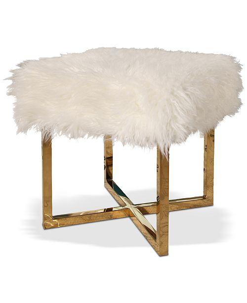 Abbyson Living Jameson Faux Fur Stool