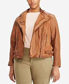 Lauren Ralph Lauren Plus Size Relaxed-Fit Leather Moto Jacket