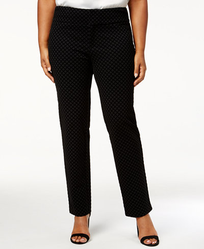 Charter Club Plus Size Flocked Ponté-Knit Pants, Created for Macy's