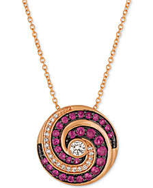 Le Vian Extraterrestrials® Passion Ruby™ (1/2 ct. t.w.) & Diamond (1/5 ct. t.w.) Pendant Necklace in 14k Rose Gold
