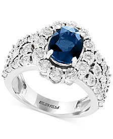 EFFY® Sapphire (1-9/10 ct. t.w.) & Diamond (1/2 ct. t.w.) Ring in 14k White Gold