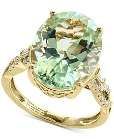 EFFY® Green Quartz (8-3/4 ct. t.w.) & Diamond (1/5 ct. t.w.) Ring in 14k Gold