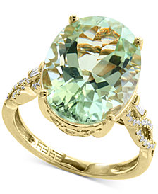 EFFY® Green Amethyst (8-3/4 ct. t.w.) & Diamond (1/5 ct. t.w.) Ring in 14k Gold