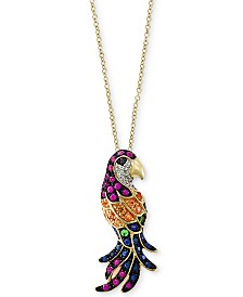 Watercolors by EFFY® Multi-Gemstone (5/8 ct. t.w.) & Diamond Accent Parrot Pendant Necklace in 14k Gold
