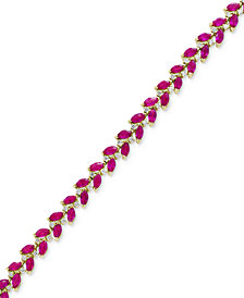EFFY® Certified Ruby (9-5/8 ct. t.w.) & Diamond (7/8 ct. t.w.) Link Bracelet in 14k Gold