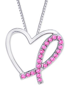 Pink Sapphire Breast Cancer Awareness Pendant Necklace (3/8 ct. t.w.) in Sterling Silver