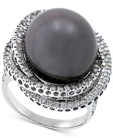 Cultured Tahitian Pearl (13mm) & Diamond (1 ct. t.w.) Ring in 14k White Gold
