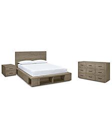 Brandon Storage Platform Bedroom Furniture, 3-Pc. Set (Queen Bed, Dresser & Nightstand), Created for Macy's