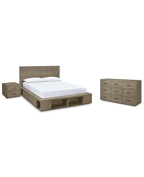 Furniture Brandon Storage Platform Bedroom Furniture, 3-Pc. Set (Full Bed, Dresser & Nightstand), Created for Macy's