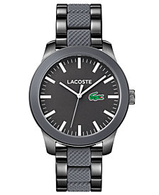 Lacoste Men's 12.12 Pinnacle Gray Stainless Steel and Silicone Bracelet Watch 43mm