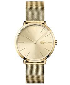 Women's Moon Ultra Slim Gold-Plated Stainless Steel Bracelet Watch 35mm
