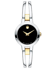Movado Women's Swiss Amorosa Two-Tone PVD Stainless Steel Bangle Bracelet Watch 24mm