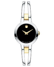 Movado Women's Swiss Amorosa Two-Tone PVD Stainless Steel Bangle Bracelet Watch 24mm