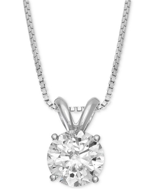 Macy's Star Signature Diamond Solitaire Pendant Necklace (1 ct. t.w.) in 14k Gold or White Gold