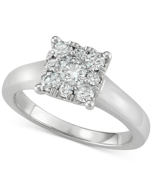 Centennial Diamond Square Cluster Engagement Ring (3/4 ct. t.w.) in 14k White Gold