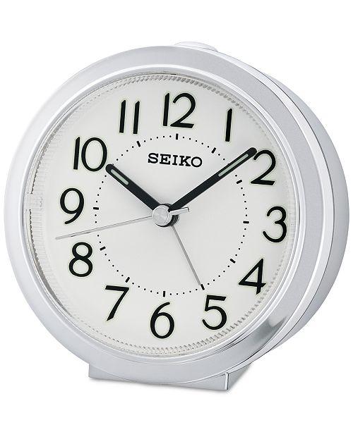 Seiko White & Silver-Tone Alarm Clock