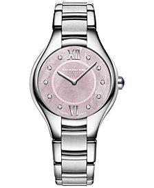 RAYMOND WEIL Women's Swiss Noemia Diamond-Accent Stainless Steel Bracelet Watch 32mm