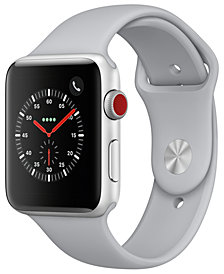 Apple Watch Series 3 (GPS + Cellular),  42mm Silver Aluminum Case with Fog Sport Band