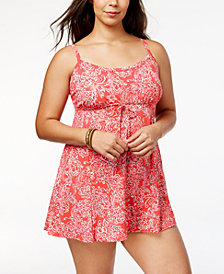 Swim Solutions Plus Size Vintage Paisley-Print Tummy Control Swimdress, Created for Macy's