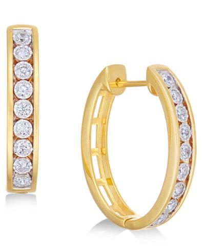 Diamond Hoop Earrings (1/2 ct. t.w.) in 14k Gold-Plated Sterling Silver