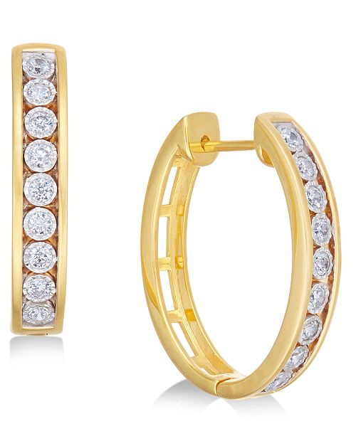 Macy's Diamond Hoop Earrings (1/2 ct. t.w.) in 14k Gold-Plated Sterling Silver