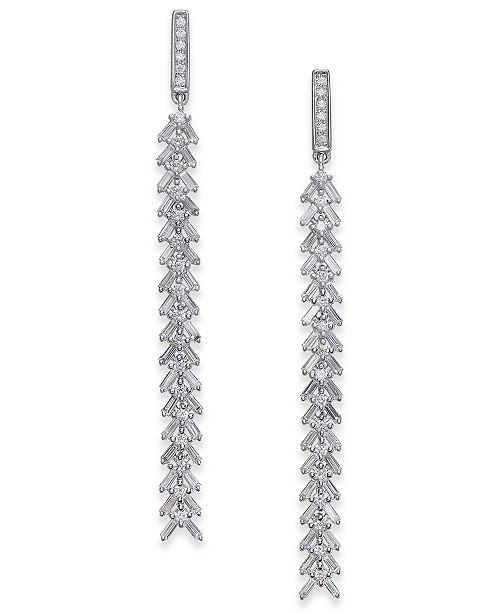 Macy's Diamond Cascading Linear Drop Earrings (1 ct. t.w.) in 14k White Gold