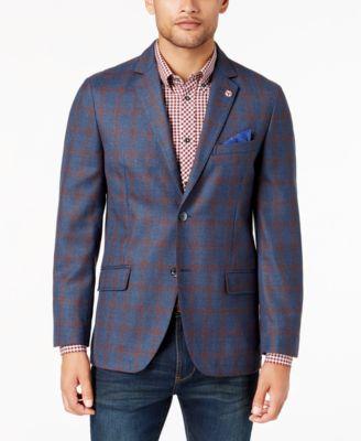 Ben Sherman Mens Blue//Red Plaid Sport Coat
