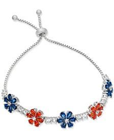 Joan Boyce Clear & Colored Crystal Flower Slider Bracelet