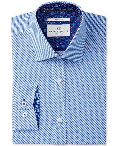 Con.Struct Men's Slim-Fit Stretch Blue Diamond Dress Shirt, Created for Macy's