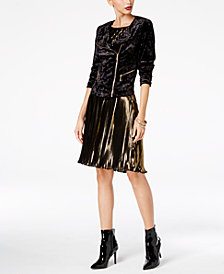 Thalia Sodi Velvet Moto Jacket & Shimmer Dress