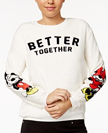 Juniors' Mickey & Minnie Plush Graphic Sweatshirt