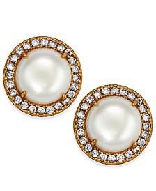 Gold-Tone Pavé & Imitation Pearl Button Earrings