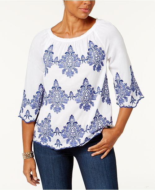 Charter Club Petite Cotton Embroidered Peasant Top, Created for Macy's