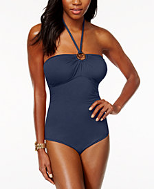 MICHAEL Michael Kors Logo-Ring Halter One-Piece Swimsuit