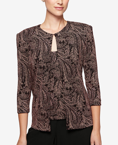 Alex Evenings Petite Scroll-Print Jacket & Shell