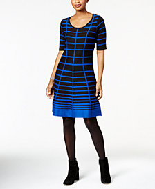 NY Collection Petite Striped Fit & Flare Dress