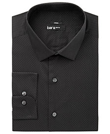 Bar III Men's Slim-Fit Stretch Easy-Care Black Circle Dot Print Dress Shirt, Created for Macy's