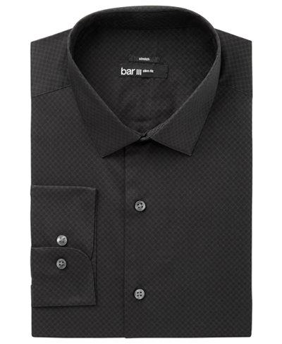 Bar III Men's Slim-Fit Stretch Easy-Care Black Circle Dot Print Dress Shirt, Created for Macy's