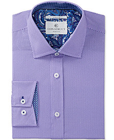Con.Struct Men's Slim-Fit Stretch Lilac Double Dot Dress Shirt, Created for Macy's