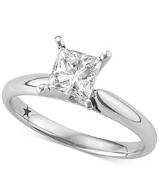 Macy's Star Signature Diamond™ Princess Cut Solitaire Engagement Ring (1 ct. t.w.) in 14k White Gold, SI2 Clarity